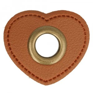 Oeillet simili cuir patch coeur marron 8mm - Bronze