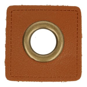 Oeillets simili cuir patch marron 8mm - Bronze