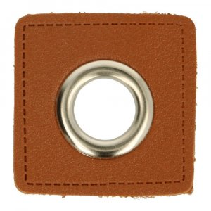 Oeillet simili cuir patch marron 8mm - Nickelé