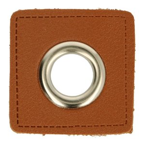 Oeillets simili cuir patch marron 8mm - Nickelé