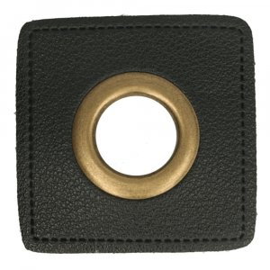 Oeillet simili cuir patch noir 8mm - Bronze