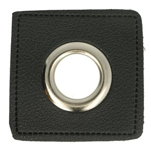 Oeillets simili cuir patch noir 11mm - Nickelé