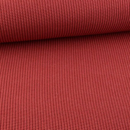 Tissu gros tricot rouille rouge