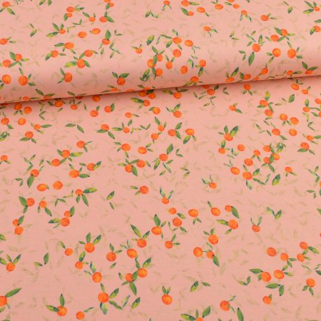 Jersey Swafing - petites oranges fond abricot