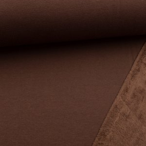 Tissu sweat envers doudou - marron